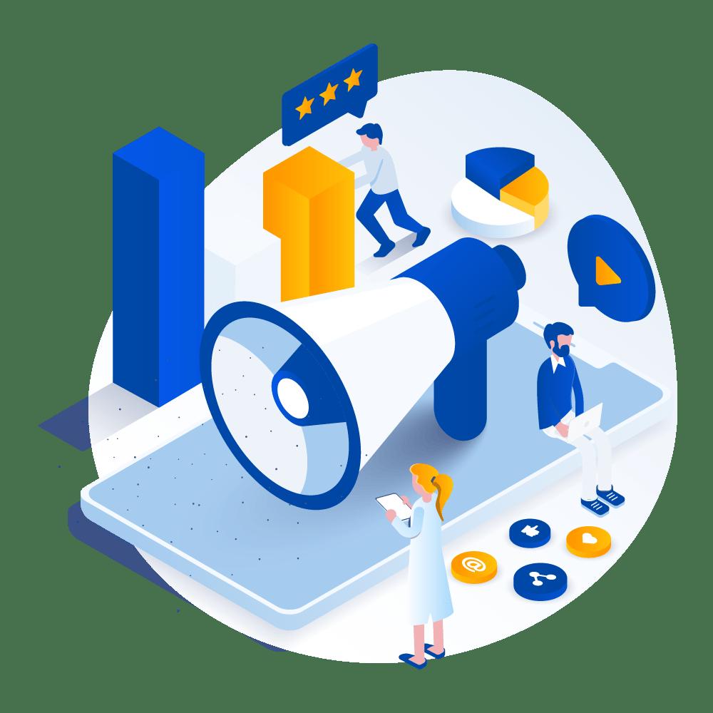 Equipo de Agencia de Marketing Digital preparando estrategias de publicidad en internet