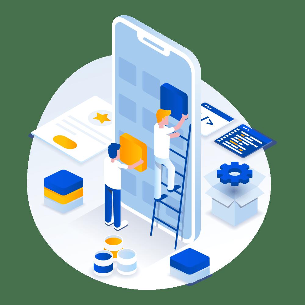 Equipo de agencia de marketing digital diseñando webs